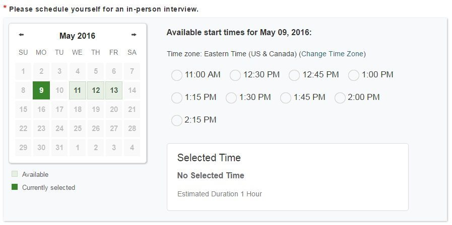 Scheduling Calendar so Applicants Can Add a Time That Suits Them