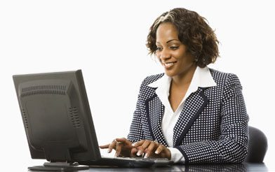 Woman on Recruitment Software Searching Through Data
