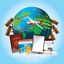 Plane going across the globe with passport phone and ID
