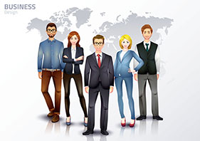 group of business people standing in front of a map of the world