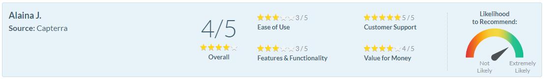 Software Advice Review - Alaina J.