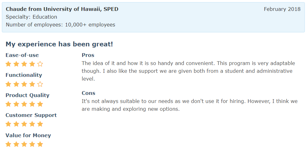 Software Advice Review - Chaude from University of Hawaii, SPED