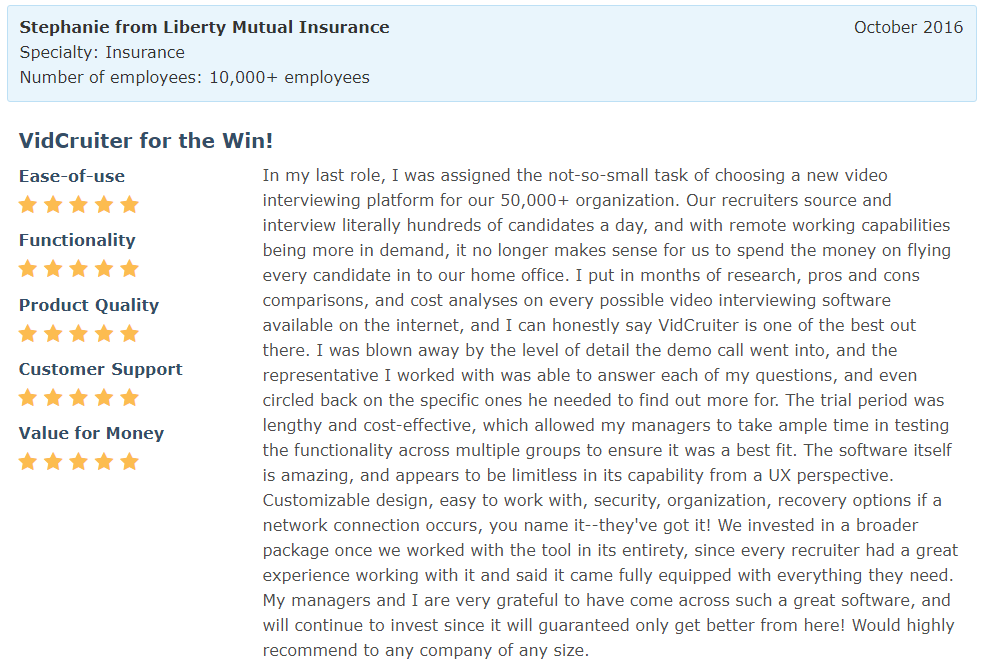 Software Advice Review - Stephanie from Liberty Mutual Insurance