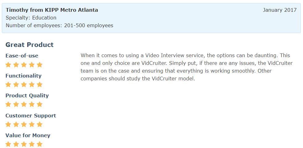 Software Advice Review - Timothy from KIPP Metro Atlanta