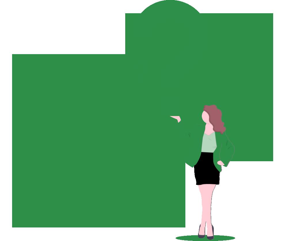 Femme tenant un point d'interrogation avec plusieurs plus petits points d'interrogation en arrière-plan