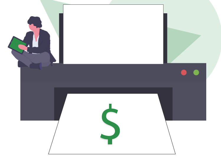 Human-Sized Printer Printing Money with a Man Sitting Beside It