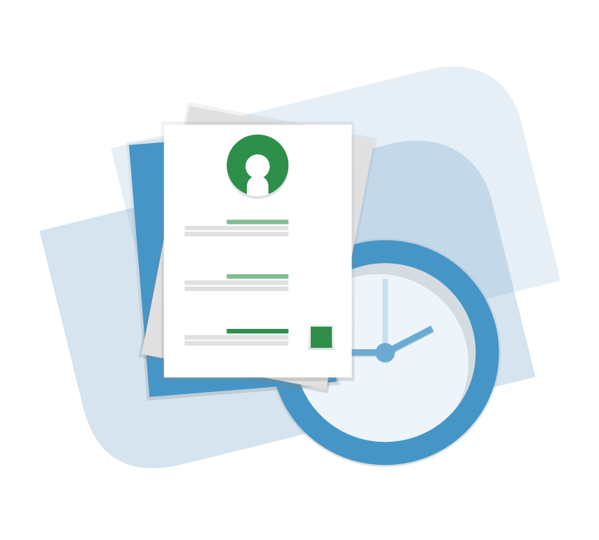 Illustration of a Applicant Profile on the VidCruiter Platform with a Clock Behind It