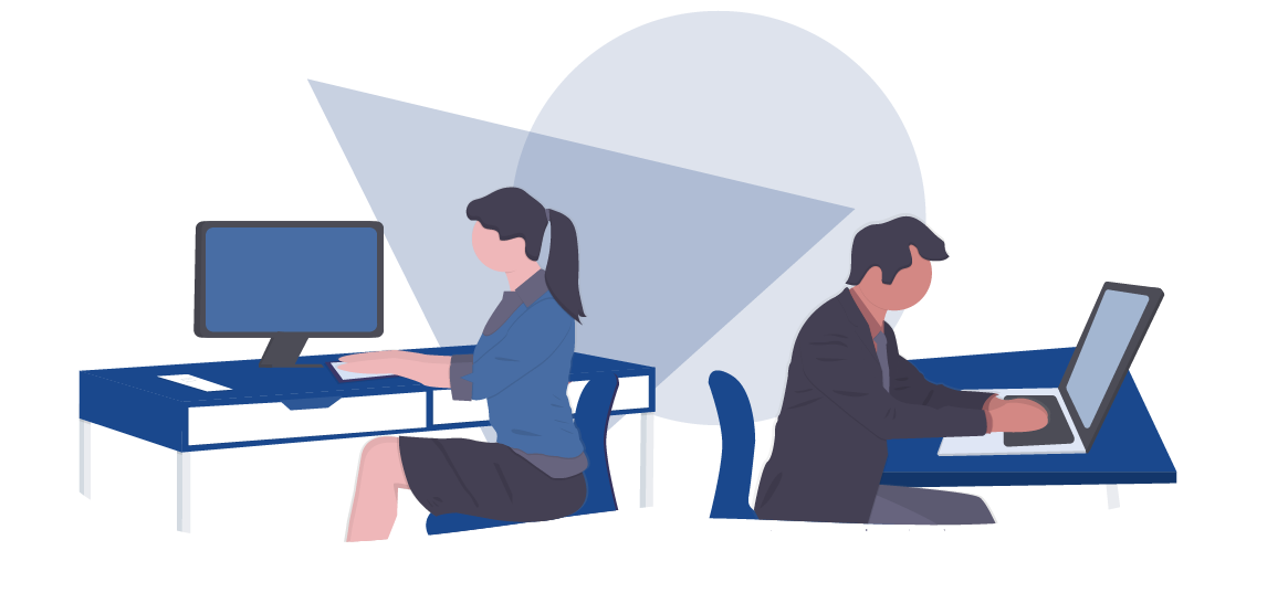 A Woman and Man Sitting at Their Desk Receiving Support for Their Interview