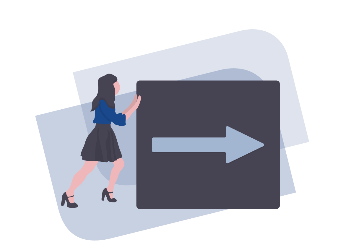 Woman Pushing a Human-Sized Block with an Arrow in the Middle It