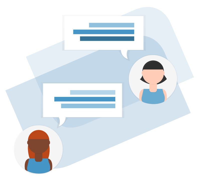 Two Applicant Profiles with Text Bubbles Beside Their Headshots