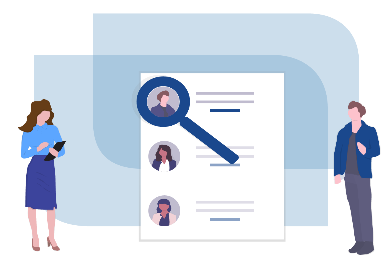 A Male and Female Recruiter Standing Infront of a Resume with a Magnifying Glass over an Applicants Profile