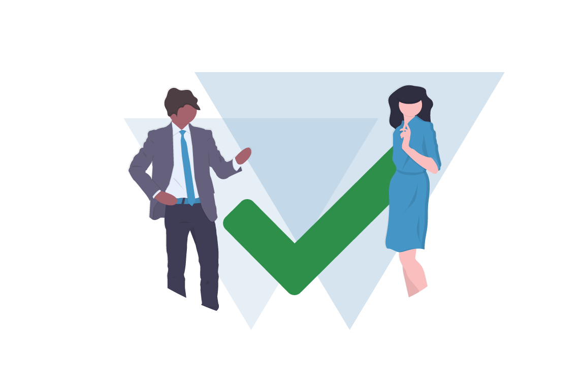 A Man and Woman Stand Beside a Green Human-Sized Checkmark