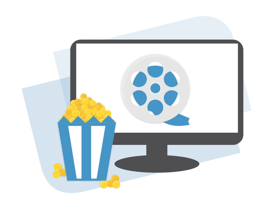 A Bag of Popcorn Infront of a Computer Screen Displaying a Movie Reel