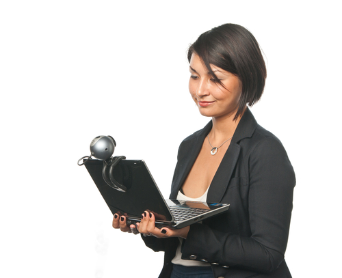 Illustration of an Applicant Completing a Digital Interview