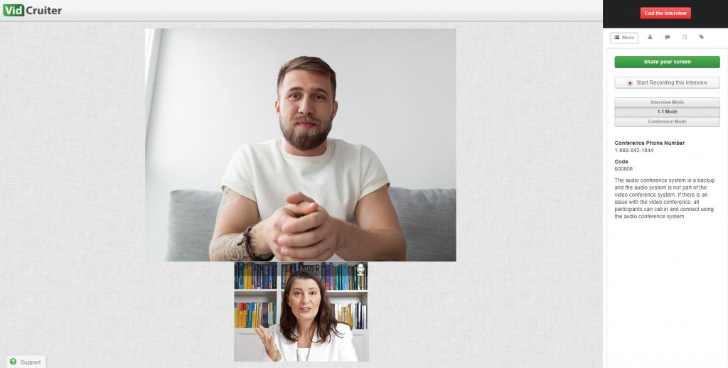 Live Video Interview on the VidCruiter Platform