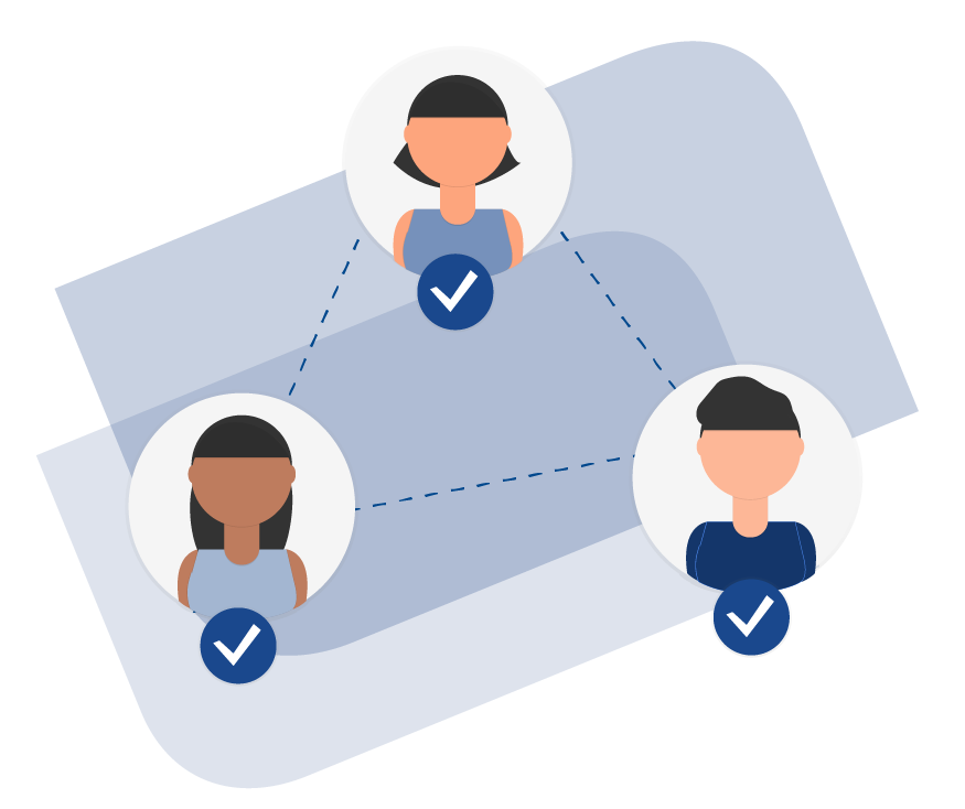 Illustration of Three Hiring Managers Being Connected by Dotted Lines