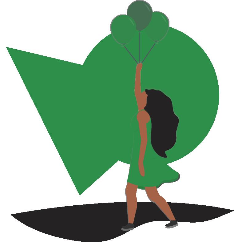 Women Holding Three Green Balloons