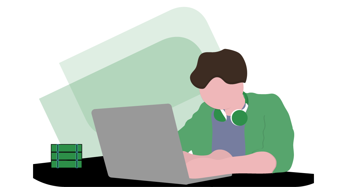 Man on a Laptop Sitting at His Desk Completing a Video Interview