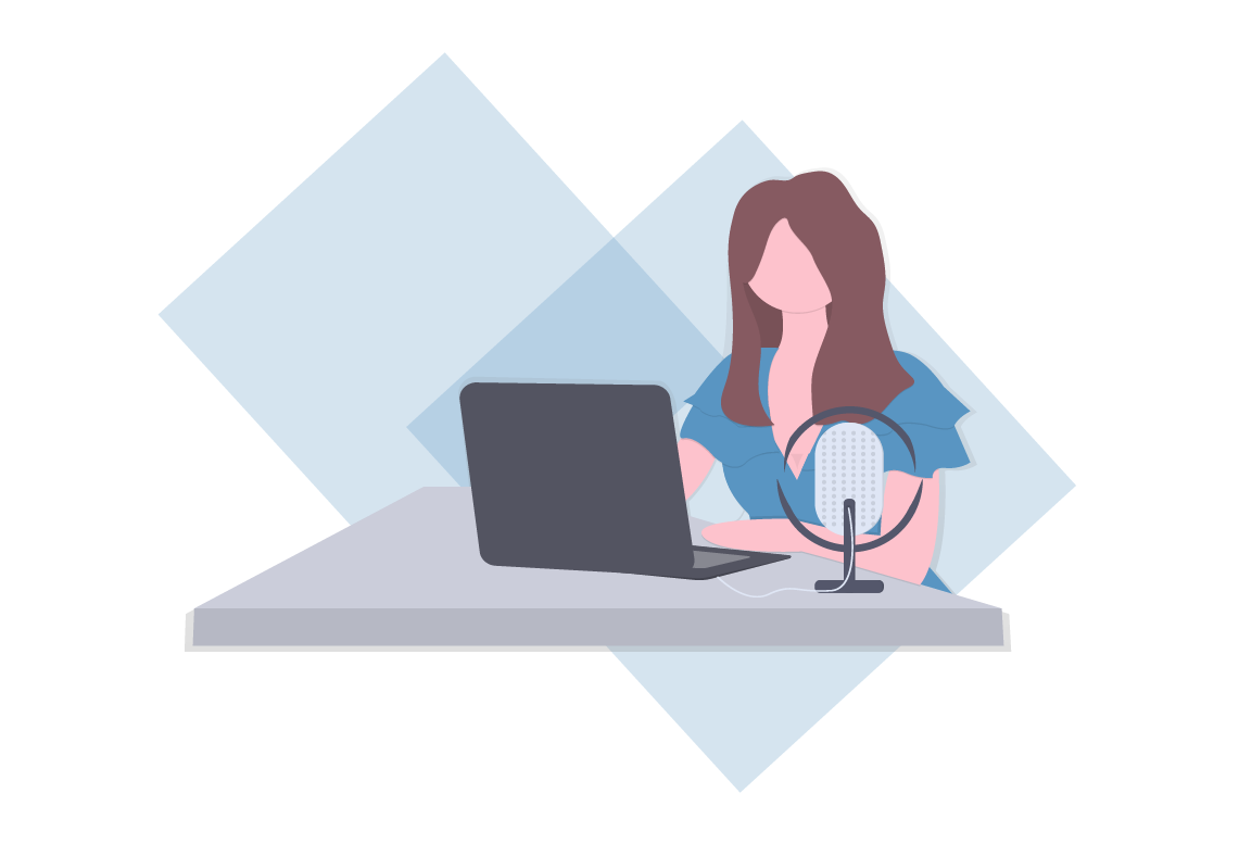 Woman Doing a Web Interview