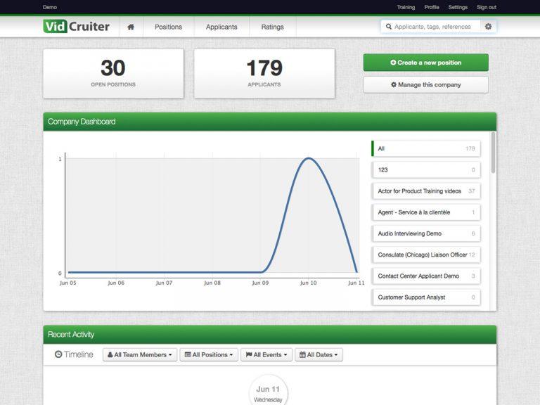 VidCruiter Software Dashboard